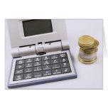 Calculadora y monedas tarjetas
