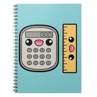 Calculadora y regla lindas libros de apuntes con espiral