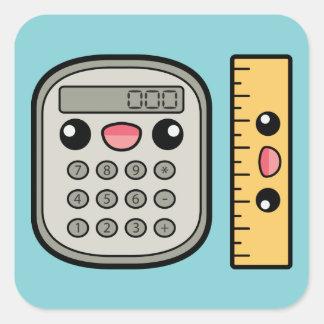 Calculadora y regla lindas calcomanías cuadradas personalizadas