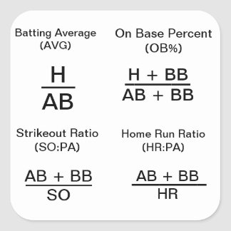 Calculating Baseball Stats Square Sticker