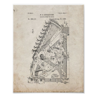 Calculating Machine Patent - Old Look Poster