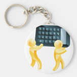 Calculator gold people key chains