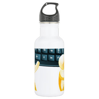 Calculator gold people water bottle
