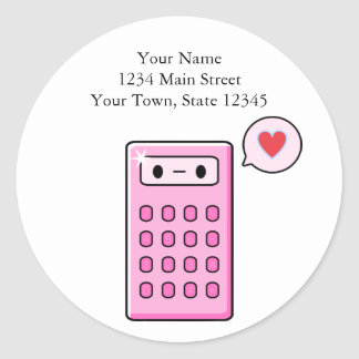 Calculator Love Classic Round Sticker