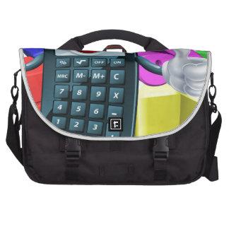Calculator man and math symbols laptop computer bag