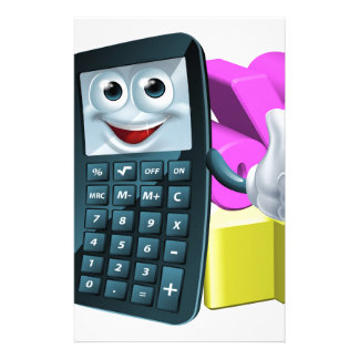 Calculator man and math symbols stationery design