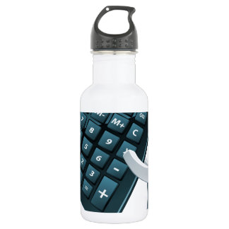 Calculator person water bottle