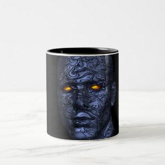 cálculo futurista de la cabeza del robot del taza de dos tonos