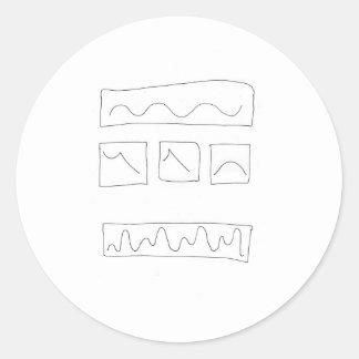 Cálculos de la forma de onda de Tryptich Pegatina Redonda