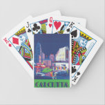 "Calcutta Vintage Travel Poster Bicycle Playing Cards<br><div class=""desc"">This product features Calcutta vintage travel poster artwork. 