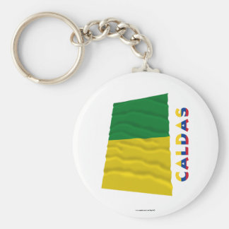 Caldas Waving Flag with Name Basic Round Button Keychain