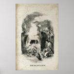 Caldera antigua de las brujas de Halloween Posters