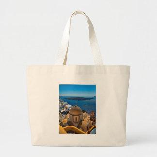 Caldera Church in Santorini Greece Large Tote Bag