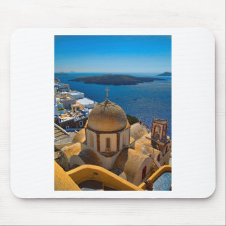 Caldera Church in Santorini Greece Mouse Pad