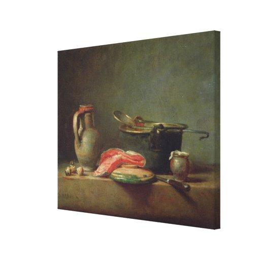 Caldera de cobre con una jarra lona envuelta para galerias
