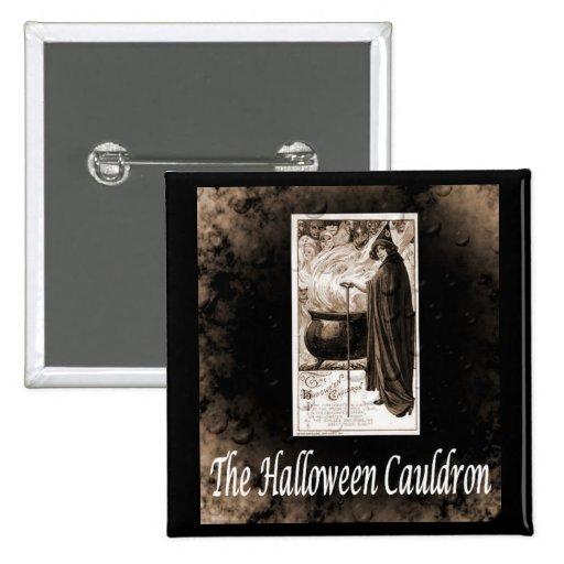 Caldera de Halloween del vintage Pin Cuadrado
