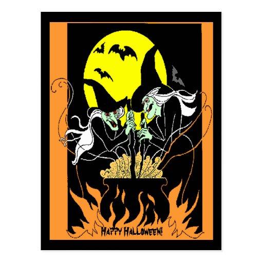 Caldera de las brujas de Halloween Postal