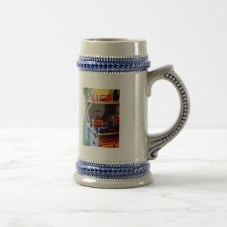 Caldera de té de cobre en estufa jarra de cerveza