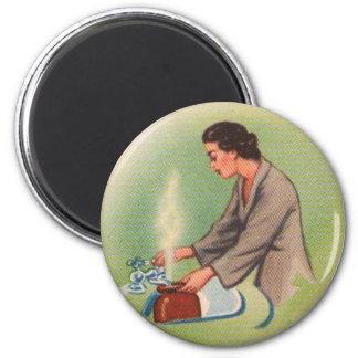Caldera de té del ama de casa de los suburbios del iman para frigorífico