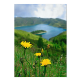 Caldera lake in Azores islands Card