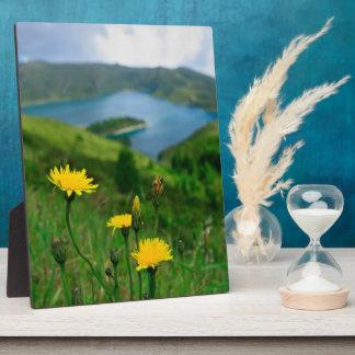 Caldera lake in Azores islands Plaque