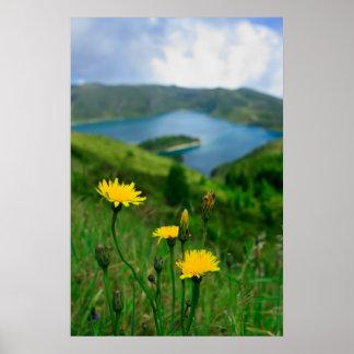 Caldera lake in Azores islands Poster