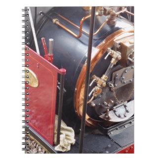Caldera locomotora miniatura de vapor libro de apuntes con espiral