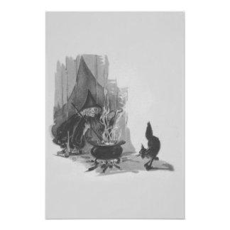 Caldera monocromática del gato negro de la bruja fotografías