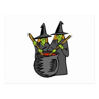 Caldera stiring witched dos tarjeta postal