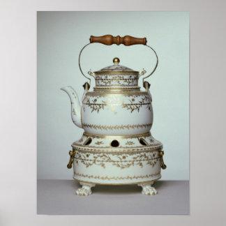 Caldera y soporte de la porcelana de Louis XVI hec Póster