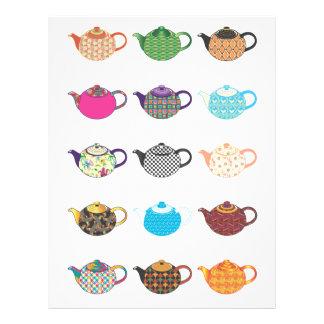 "Calderas de té multicoloras folleto 8.5"" x 11"""