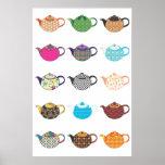 Calderas de té multicoloras impresiones