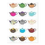 Calderas de té multicoloras tarjetas postales