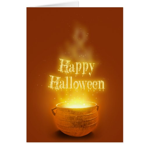 Caldero del feliz Halloween - tarjeta de