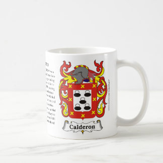 Calderon, the History, the Meaning and the Crest o Coffee Mug