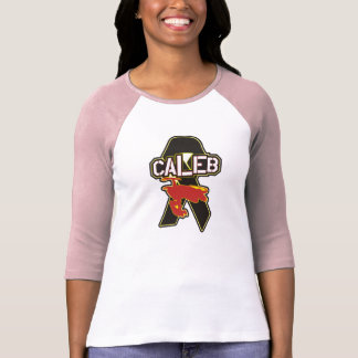 Caleb Moore Tribute Women's White/Pink 3/4 Length T-Shirt