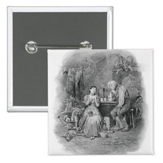 Caleb Plummer and his blind daughter, from 'Charle 2 Inch Square Button