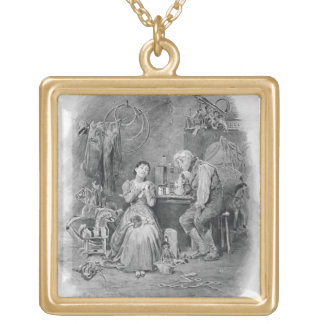 Caleb Plummer and his blind daughter, from 'Charle Gold Plated Necklace