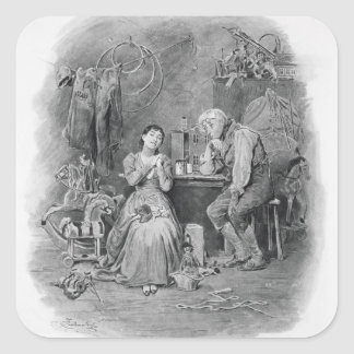 Caleb Plummer and his blind daughter, from 'Charle Square Sticker