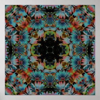 Caleidoscopio abstracto psicodélico de la flor de  póster