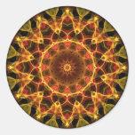 Caleidoscopio amarillo del azafrán pegatina