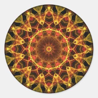 Caleidoscopio amarillo del azafrán pegatina redonda