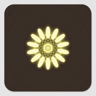Caleidoscopio amarillo en fondo negro pegatina cuadrada