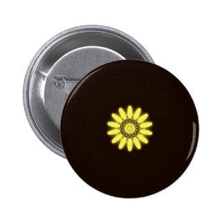 Caleidoscopio amarillo en fondo negro pin redondo de 2 pulgadas