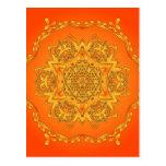 Caleidoscopio anaranjado: Ilustraciones hexagonale Postal