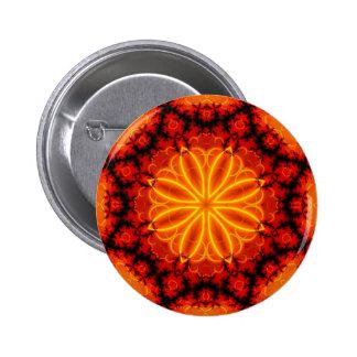 Caleidoscopio anaranjado llameante pin redondo de 2 pulgadas