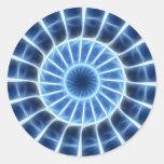 Caleidoscopio azul 2 pegatinas redondas