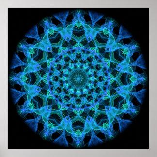 Caleidoscopio azul de las medusas poster