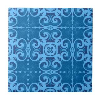 Caleidoscopio azul del cordón azulejo cuadrado pequeño