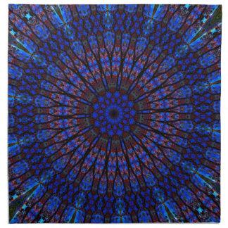 Caleidoscopio azul terroso del fractal servilletas imprimidas